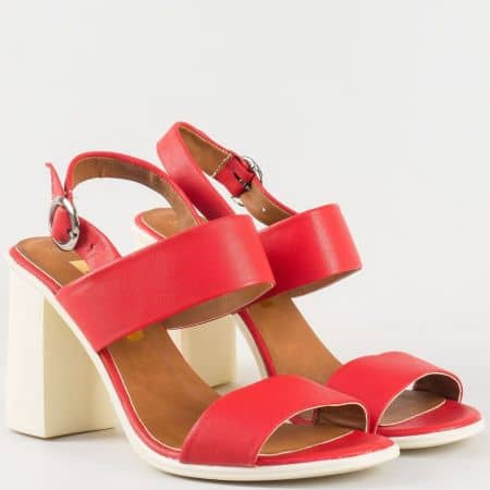 Дамски стилни сандали на висок ток произведени от висококачествена естествена и еко кожа в червен цвят 3011216chv