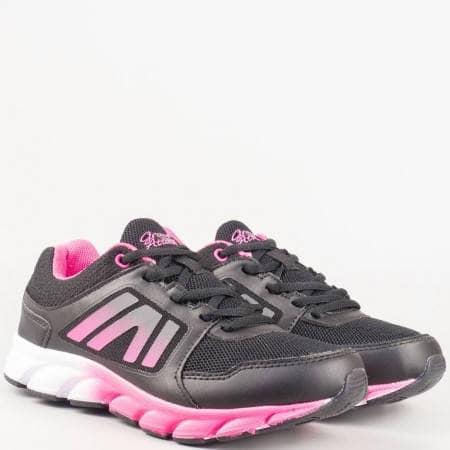 Дамски маратонки в черно и розово с връзки- GRAND ATTACK 30113-40ch