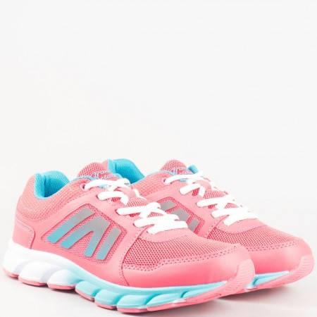 Дамски маратонки на комфортно гъвкаво ходило с връзки на Grand Attack в розов и син цвят 30113-40ck