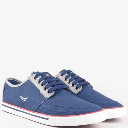 Сини мъжки обувки тип кец с връзки 30149-45s