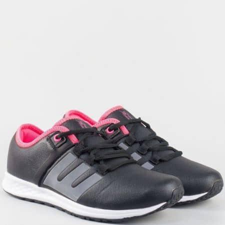 Дамски актуални маратонки с връзки- Grand Attack в черен цвят 30161-40ch