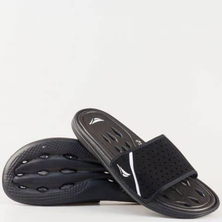 Удобни мъжки чехли с цяла лента в черено 30136ch
