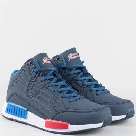 Юношески спортни обувки с връзки- Grand Attack в син цвят 30172-40s
