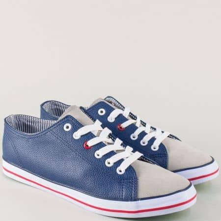 Спортни мъжки обувки в синьо и сиво с практични връзки 30173-45s