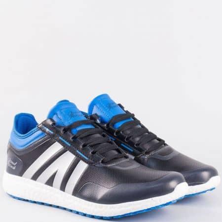 Мъжки маратонки в черно и синьо на удобно ходило 30175-45chs