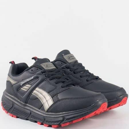 Актуални дамски маратонки с връзки- GRAND ATTACK в черен цвят 30176-40ch