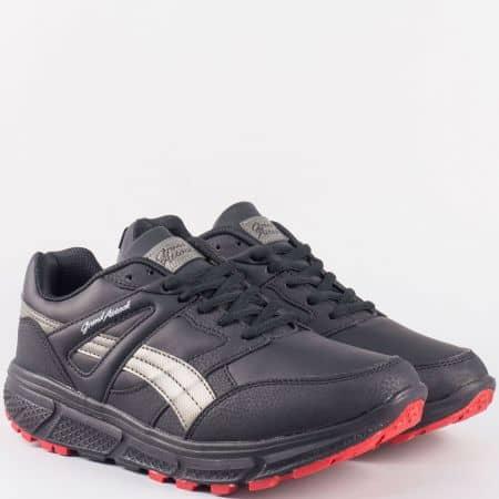 Комфортни мъжки маратонки GRAND ATTACK в черен цвят 30176-45ch