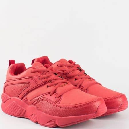 Червени мъжки маратонки  на комфортно ходило с връзки 30177-45chv