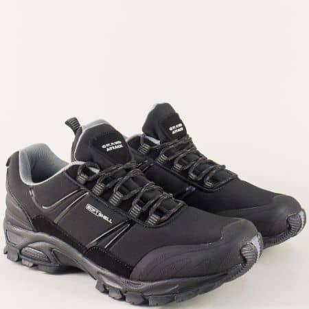 Мъжки маратонки в черен цвят с връзки и равно ходило 30187-45ch