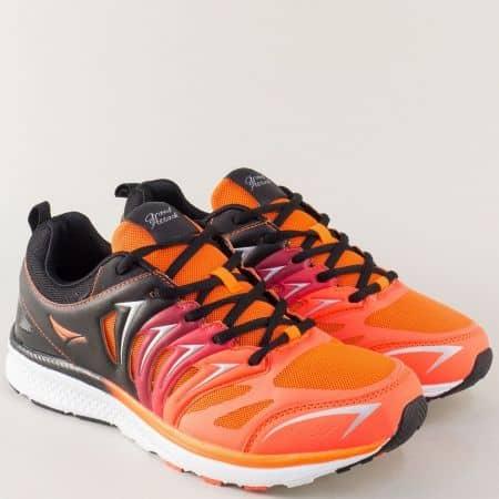 Мъжки маратонки в черен и цвят оранж на удобно ходило 30192-45ch