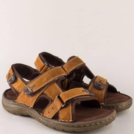 Кафяви мъжки сандали с лепки на равно шито ходило 30206k