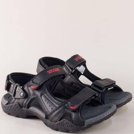 Мъжки сандали в черен и червен цвят с велкро лепки 30214chchv