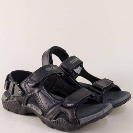 Спортни мъжки сандали в черен и сив цвят на комфортно ходило  30214chsv
