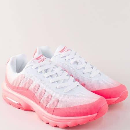 Дамски маратонки в бяло и розово на комфортно ходило 30226-40ck