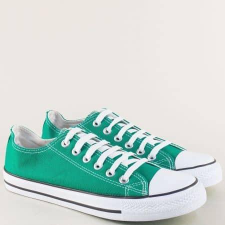Дамски кецове с връзки в зелен цвят на равно ходило 30234-40z