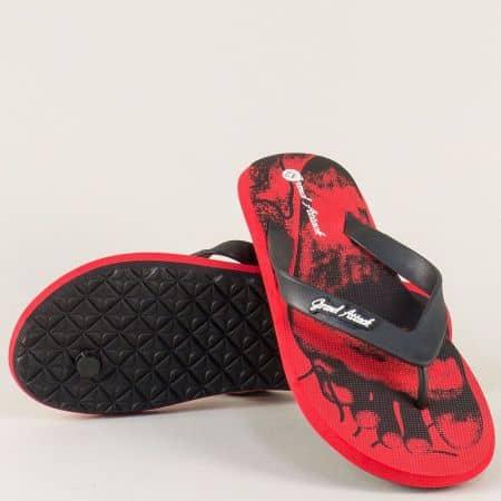 Удобни мъжки джапанки в червен и черен цвят 30238chv