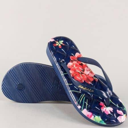 Сини дамски джапанки на комфортно ходило с принт на цветя 30245s
