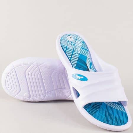 Дамски джапанки на комфортно ходило в бял и син цвят 30274bs