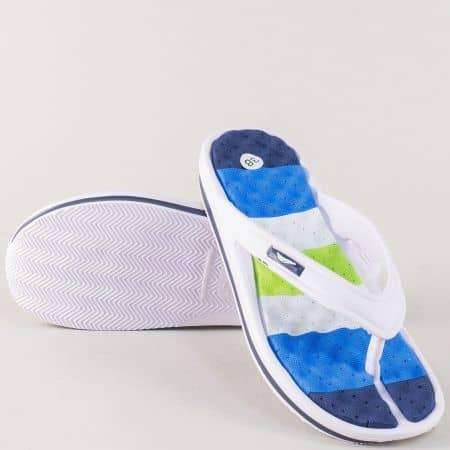 Дамски джапанки в синьо, бяло и зелено на удобно ходило 30276ss
