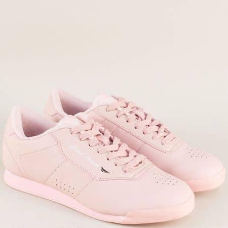 Розови дамски маратонки на равно ходило с връзки 30300-40rz