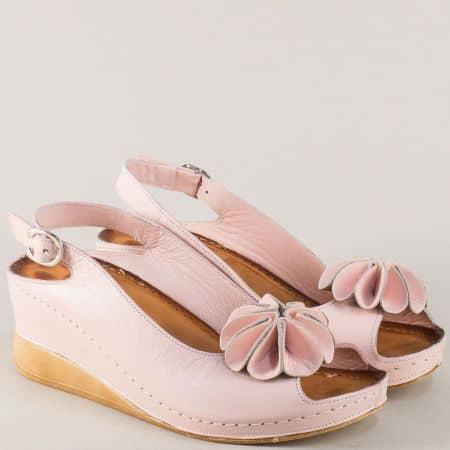 Розови дамски сандали от естествена кожа на платформа с анатомична стелка 3031rz