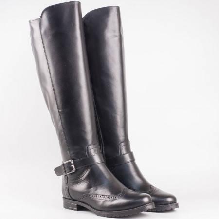 Дамски ежедневни ботуши изработени от висококачествена естествена кожа със швейцарска визия в черен цвят 30322ch