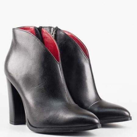 Дамски атрактивни боти от 100% естествена кожа на полския производител Carinii в черен цвят 3035ch