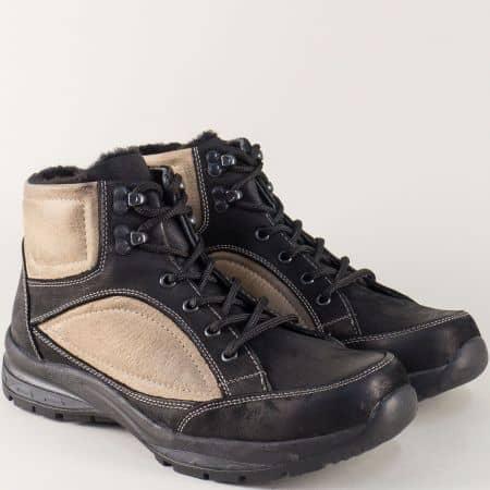 Двуцветни мъжки обувки с връзки в черно и бежово 304219chbj