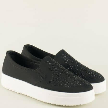 Ежедневни дамски обувки в черно на платформа 307005ch