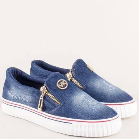 Дамски обувки на комфортно равно хоидло в син цвят 2083ds