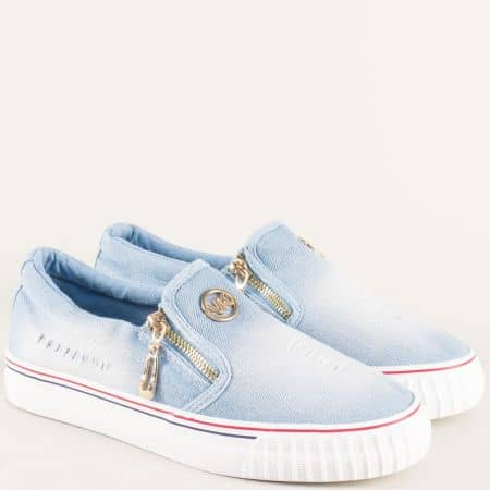 Модерни дамски обувки в син цвят на равно ходило  2083dss