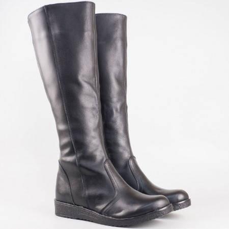 Дамски ежедневни ботуши със сая от висококачествена естествена кожа в черен цвят 3096656ch