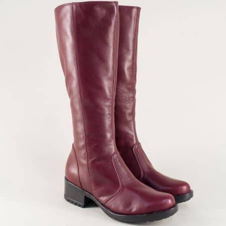 Дамски ботуши цвят бордо на среден ток от естествена кожа 3096658bd