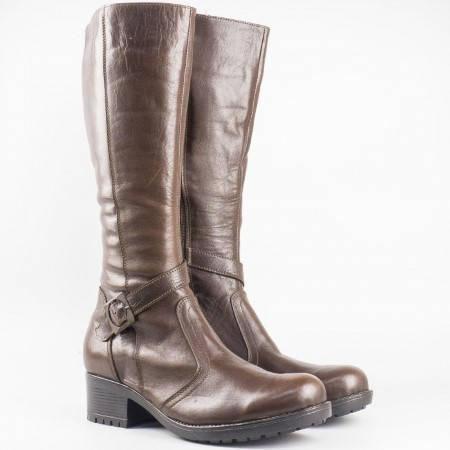 Дамски ботуши изработени от висококачествена естествена кожа на български производител в кафяв цвят 3096658k