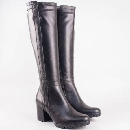 Дамски качествени ботуши произведени от естествена кожа в черен цвят на български производител 31606ch