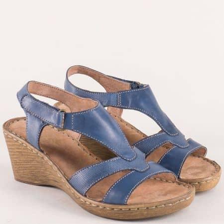 Италиански дамски сандали от синя естествена кожа 3112168s