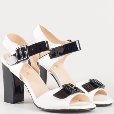 Дамски стилни сандали на стабилен висок ток с катарами на българския производител Eliza в бяло и бежово 312166b
