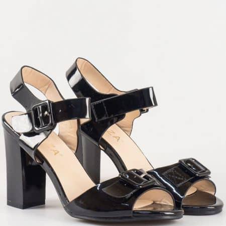 Дамски сандали с елегантна визия на висок ток на българския производител Eliza в черен цвят 312166ch