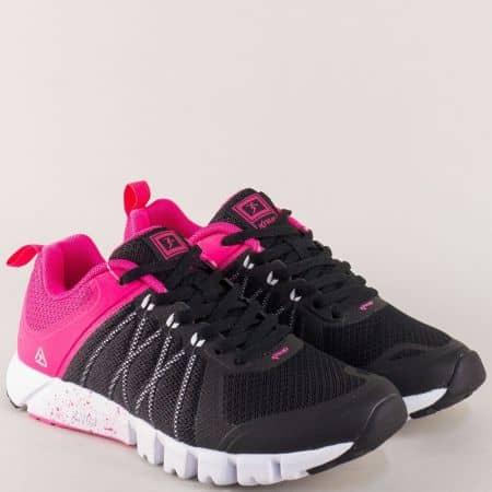 Дамски маратонки в черен и розов цвят на равно ходило 3138-40ch