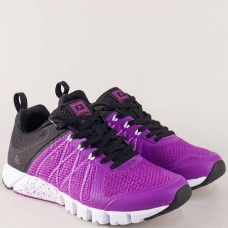 Комфортни дамски маратонки в черно и лилаво на удобно ходило 3138-40chl