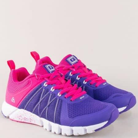 Пъстри дамски маратонки в лилав и цикламен цвят 3138-40l