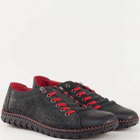 Мъжки комфортни обувки за всеки ден произведени от 100% естествени материали - набук и кожа в черен цвят.  31503ch