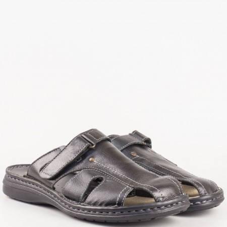 Черни мъжки чехли на шито ходило от естествена кожа 3178ch