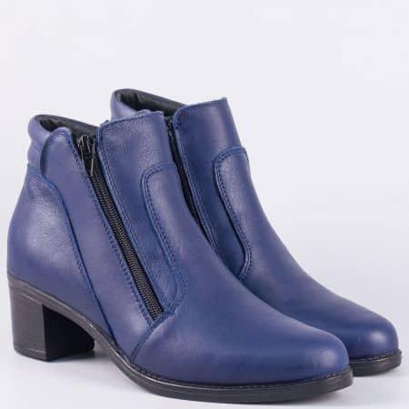 Кожени дамски боти в син цвят на среден ток- български производител 31791454s