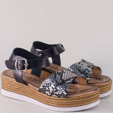 Дамски сандали в черен цвят от естествена кожа- Valeria's  3185ch
