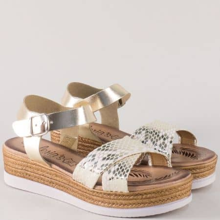 Златни дамски сандали на платформа с кожена стелка 3185zl