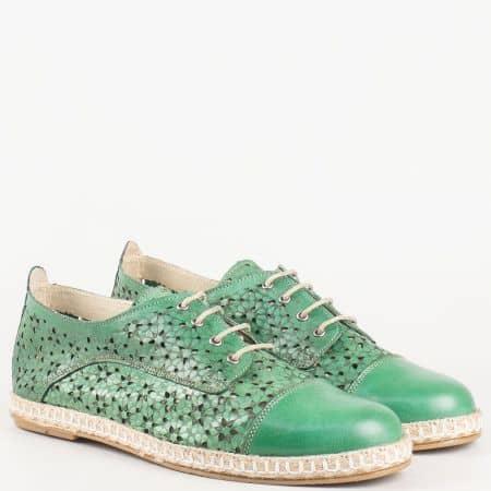 Шити дамски обувки с връзки и кожена ортопедична стелка от зелена естествена кожа с лазерна перфорация на българският производител Nota Bene   3191983z