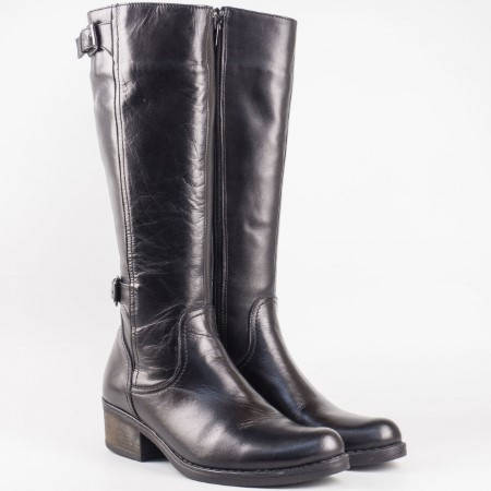 Дамски атрактивни ботуши произведени от висококачествена естествена кожа на български производител в черен цвят 32316833ch