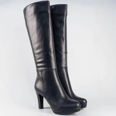 Дамски ботуши в черен цвят на висок стабилен ток 323403ch