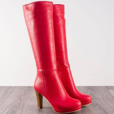 Червени дамски ботушу на висок ток  323403chv